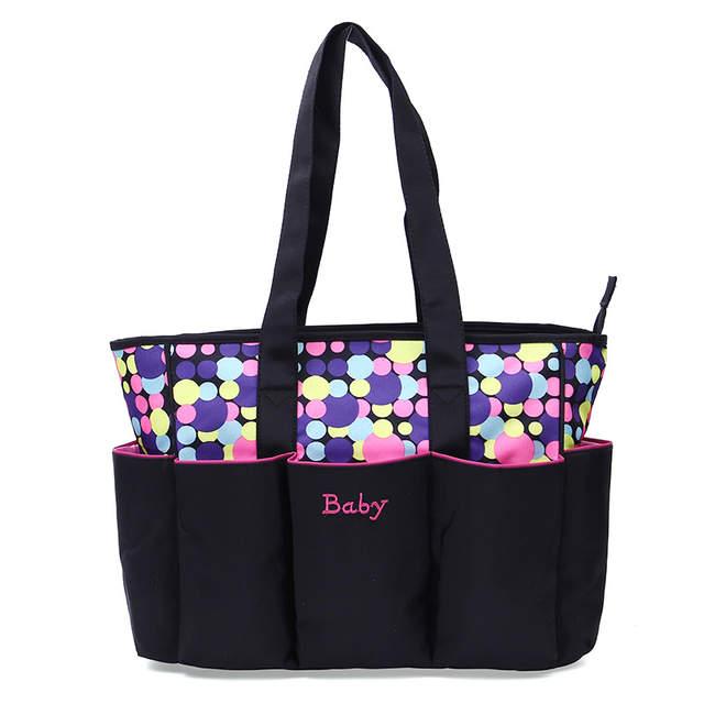 a7fca4340729 5 Pieces Baby Diaper Bag Set Designer Tote Cute Nursing Bag Dot Large  capacity Maternity Baby Stroller Bag