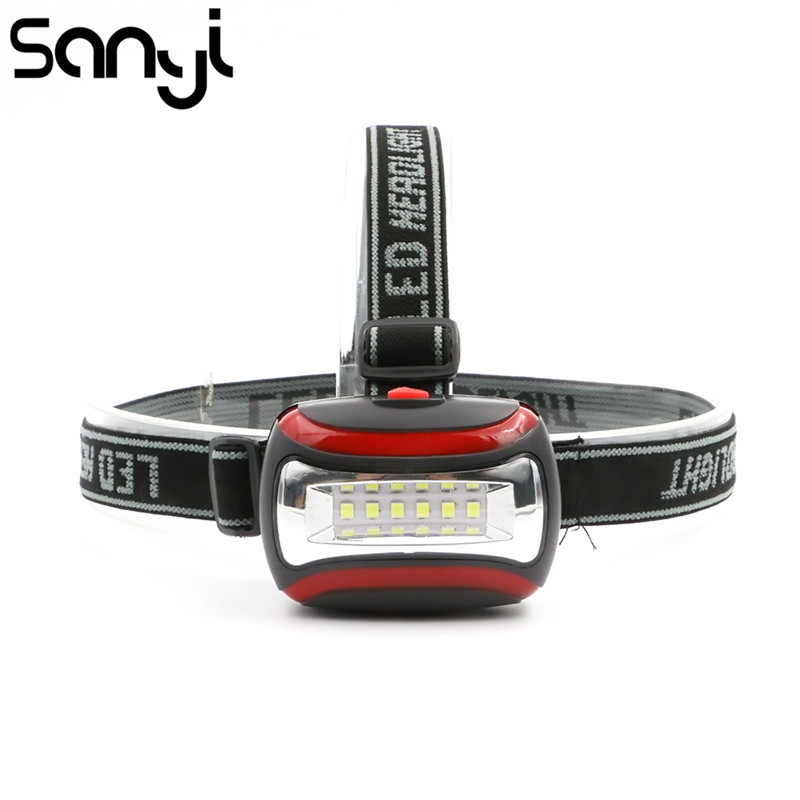 Portable Mini 6 LED Projecteur 3 modes Faisceau lumière 3 * AAA Phare Lanterne Tête Lampe Torche pour L'éclairage Extérieur avec Bandeau