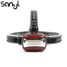 Портативный мини 6 светодиодный налобный фонарь 3 режима луч света 3* фонарик с ААА типом батареек головка фонаря лампы факел для наружного освещения с повязкой на голову
