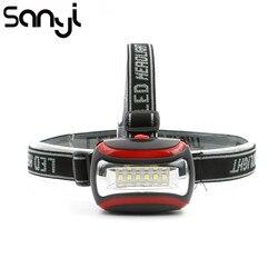 Портативный мини-налобный фонарь, 6 светодиодных налобный фонарь с 3 режимами, 3 * AAA фары, налобный фонарь для наружного освещения с повязкой ...