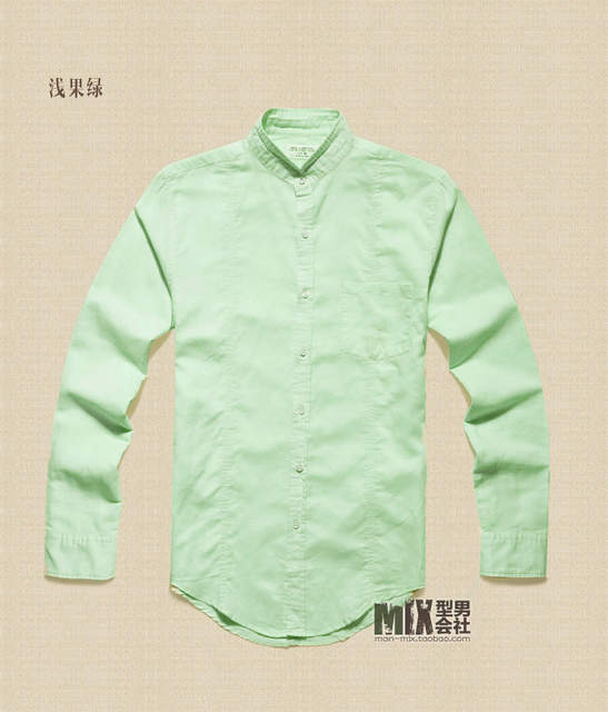 805dd4c115 Male Casual Linen Shirt Slim Fit Long-sleeve Breathable White Blue Basic Shirt  Pure Hemp