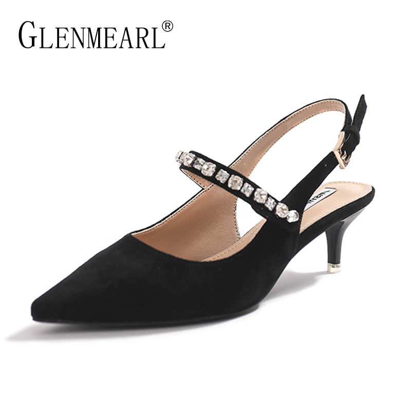 Black Shoes Woman High Heels Natural Suede Women Pumps Pointed Toe Diamond Strap Summer Shoes Thin Heels Female Wedding Shoes DE bigtree summer autumn women pumps elegant show thin heels stiletto suede pointed side hollow female high heels shoes g3168 6