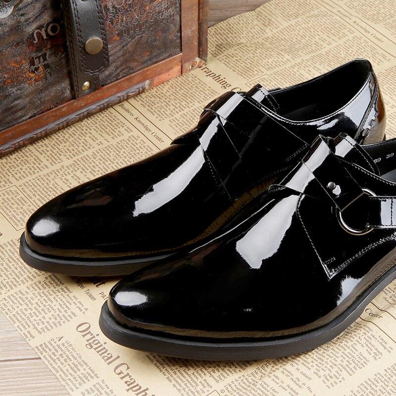 De Estilista Cómodos Negro Mycolen Los Para Masculino Moda Hombres Oxford Hebilla Zapatos Charol Vestido Marca Pisos Correa tII1qw