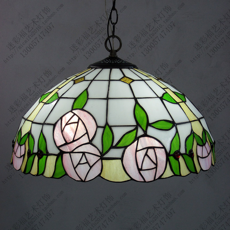 16inch European style tiffany retro pendant light roses stained glass Didifanni hanging lamp living room bedroom bedroom
