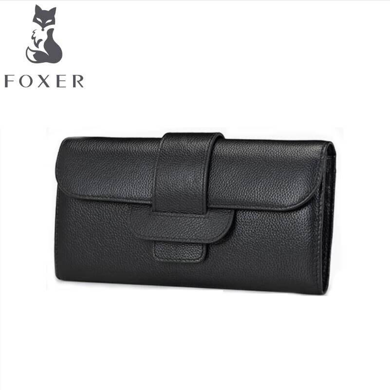 ФОТО FOXER women genuine leather wallets 2017 new women long wallet  Buckle women leather wallets purse  women clutch bag