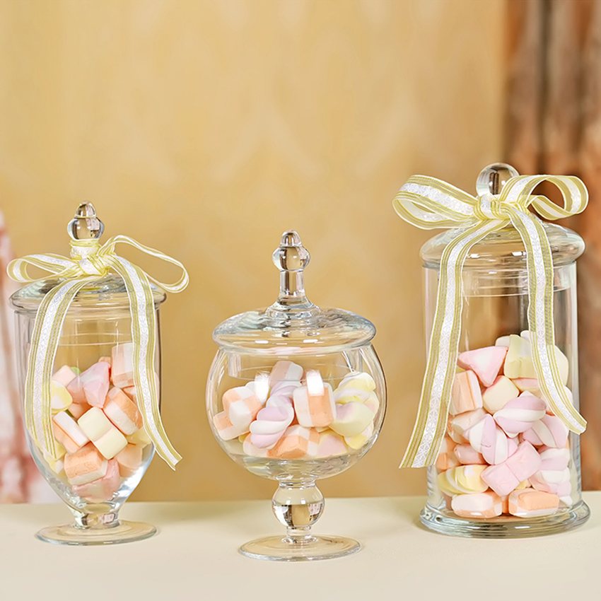 Europe glass bottle Transparent storage jars with lid large capacity honey candy jar kitchen container sealed small glass bottle