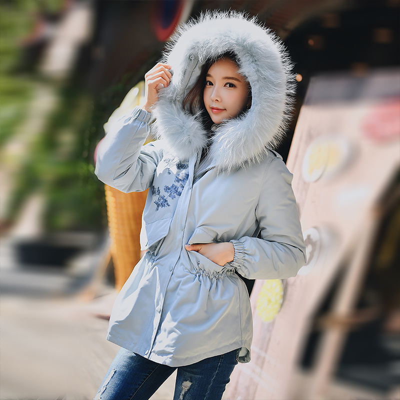 Dabuwawa Winter Fur Collar Hooded Down Coats For Girls Women New Embroidery Sequins Warm Fashion Down Jacket Outwear D18DDW020