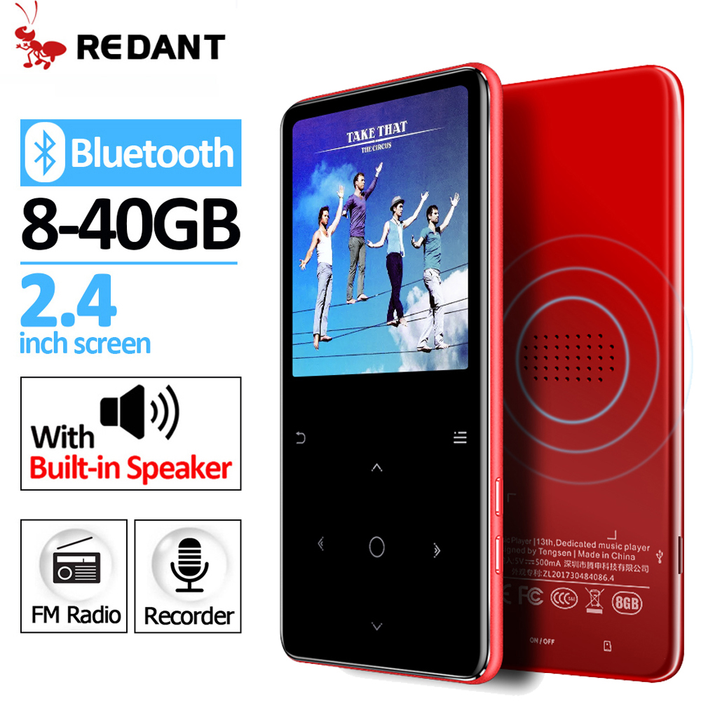 REDANT MP3 player Bluetooth 4.2 with touch keys Bulit in Speaker FM radio recording Portable Slim Lossless Sound walkman 32gb-in MP3 Player from Consumer Electronics    1