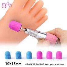 10 шт. 10*15 мм синие шлифовальные ленты для ногтей сверло для ногтей машина для маникюра и педикюра аксессуары для дизайна ногтей резиновая оправка