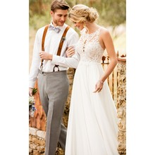 Halter Neck Chiffon Boho Beach Wedding Dress With Lace Appliques Sleeveless Bridal Gown