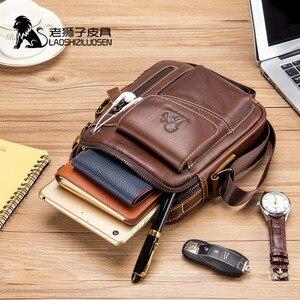Image 2 - LAOSHIZI Genuine Cow Leather Messenger Bag Men Handbag Chest Crossbody Shoulder Bag Mens bag Tas Business Small Male Bolsas Sac