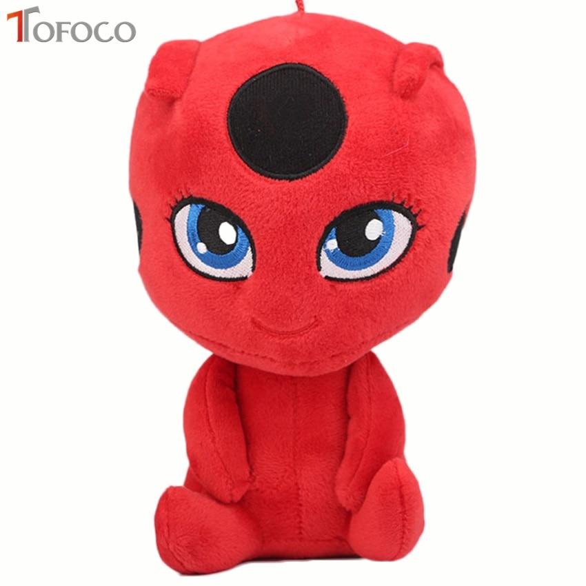 TOFOCO 20CM Miraculous Ladybug and Cat Noir Peluche Toys Lady Bug Plush Plagg Tikki Soft Stuffed Dolls toy for kids Children Gif