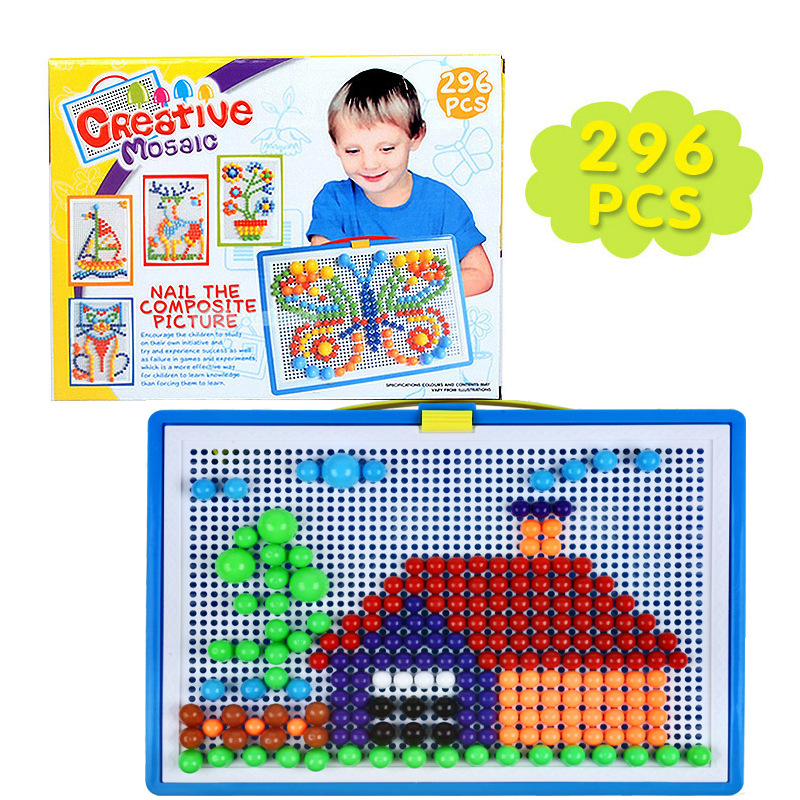 296 Pc / set Mushroom Nail Intelligent 3D Puzzle Giochi di plastica Flashboard Baby Toys regalo per i bambini educativi Toy Color Box