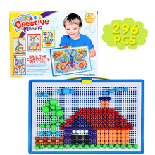 Купить с кэшбэком 296 Pc Mushroom Nail Intelligent 3D Puzzle Games Plastic Flashboard Baby Toys Gift for Kids  Educational Toy Color Box