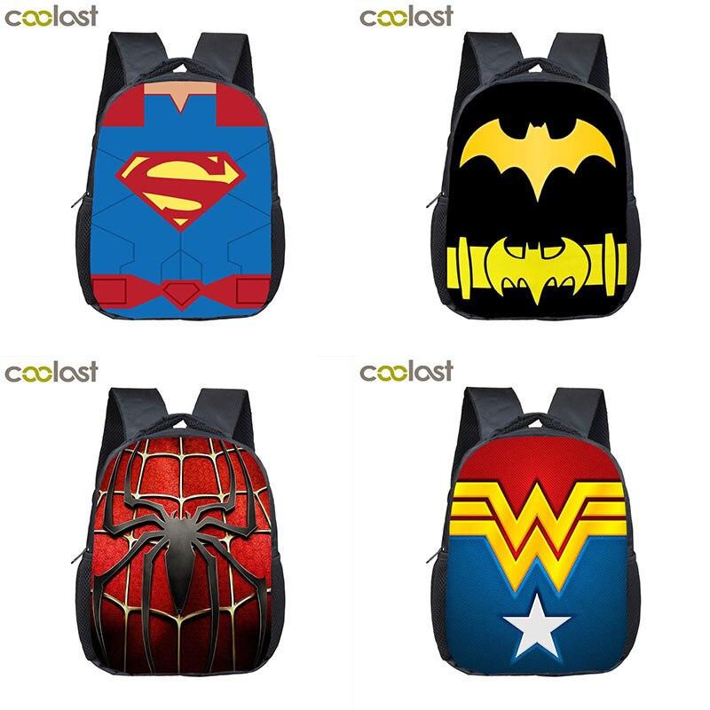 970a32090dbc Супермен Человек паук Бэтмен рюкзак для детские школьные сумки Comics  супергерой логотип обувь мальчиков девочек Bookbag