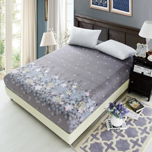 White Flowers Printed Blue Bedding Bed Sheets With Elastic 100% Polyester Fitted Sheets Mattress Cover Band Bedspread Bedsheet
