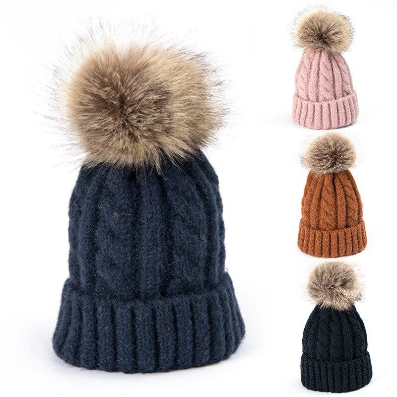 Winter Knitted Pom pom   Beanie   Thick Hat female bonnet Winter Cotton Warm Caps Winter Hat For Women Pompoms   Skullies     Beanies