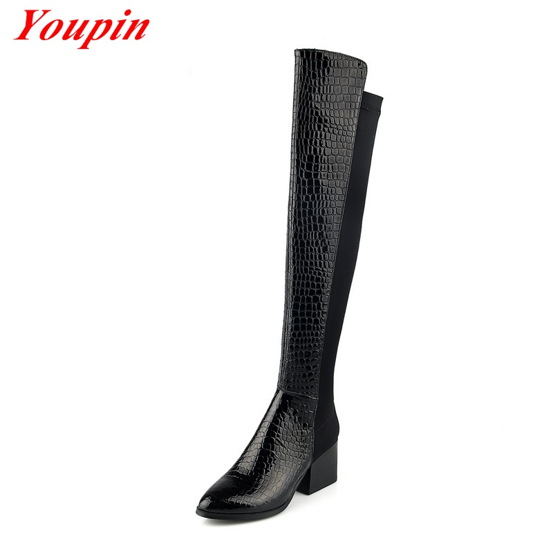 Snakeskin Pattern Knee Boots 2015 Square Heel Long Boots Pointed Toe Womens Shoe Winter Cowhide Snakeskin