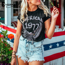 Everkaki Cotton 1977 Vintage T shirt Women Eagle Pattern Casual Shirt Tees&Tops Retro Punk Boho Tee Femme Summer 2019