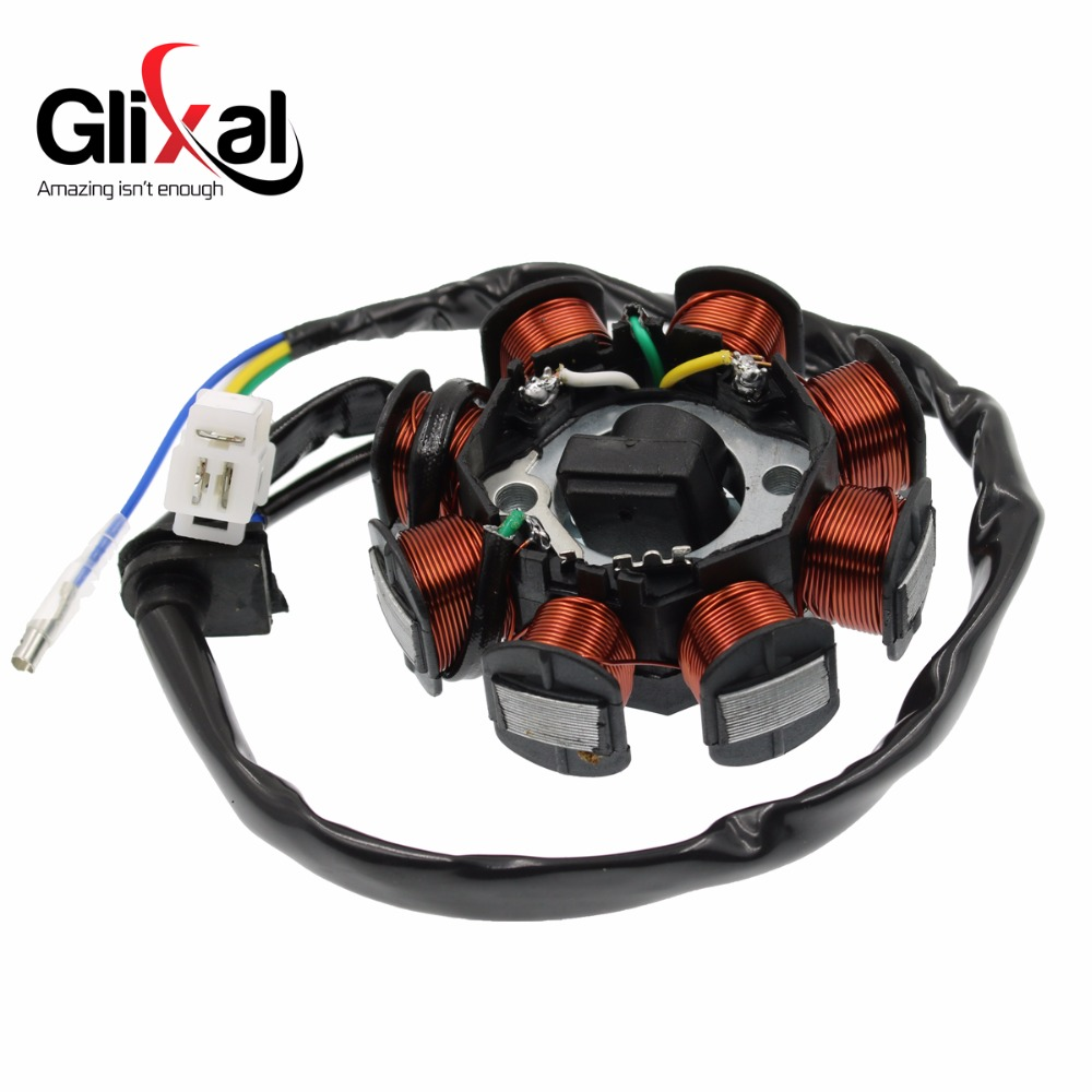 Glixal GY6 49cc 50cc 8-coil Magneto Alternator Stator for 139QMB 139QMA Chinese Scooter Moped Engine (DC Fired Type)