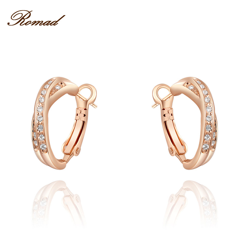 Romad Vacation Gift Luxury Earrings Rose Gold Color Genuine Austrian Crystals 100% Handmade Fashion Women Wedding Party Jwelry