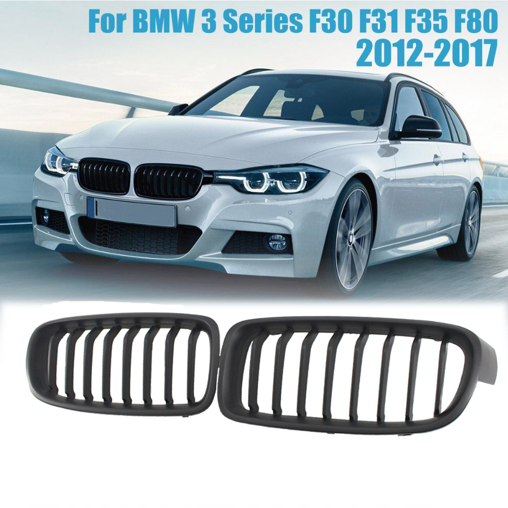 Matte Black Kidney Grill Grilles For BMW 3 Series F30 F31 F35 F80 2011-2017 4pcs 7 4v 2700mah 10c hubsan h501s lipo battery batteies with cable for charger hubsan h501c rc quadcopter airplane drone spar