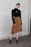 Высококачественные Стрейчевые бархатные рубашки с длинными рукавами Топы + юбки с оборками комплект из двух предметов 2018 г. осенние вельвет