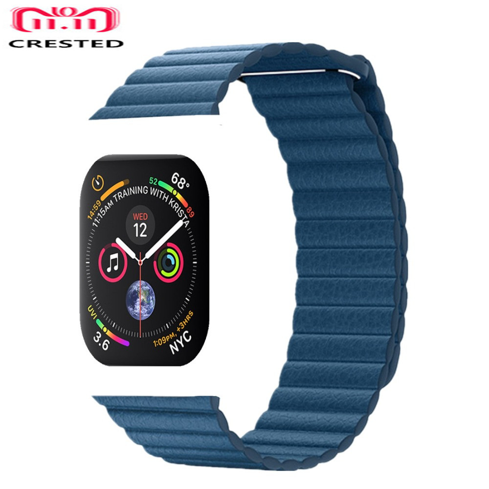 CRESTED Leather Loop For Apple Watch band series 4 44mm/40mm strap iWatch 3/2/1 42mm/38mm Magnetic Closure wrist bracelet belt