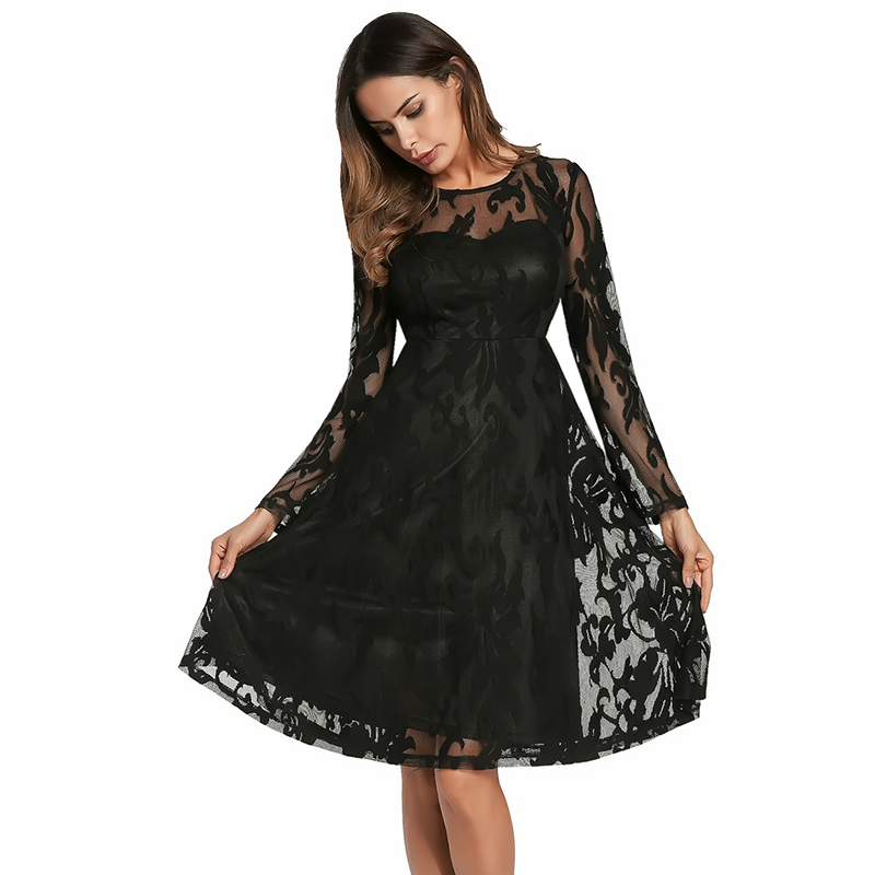 Weweya 2018 Women Floral Lace Dresses Spring Long Sleeve
