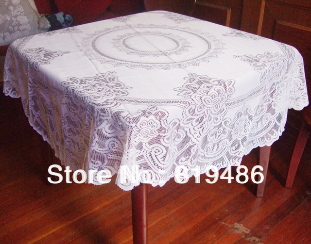 "Free shipping floral lace table cloth round shape 160*160cm(63""*63"")100%polyester white color"