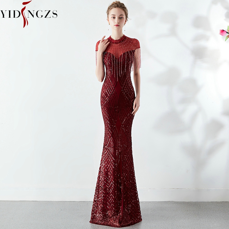 YIDINGZS Sequins   Evening     Dress   See-through Back Elegant Beading Long   Evening   Party   Dresses