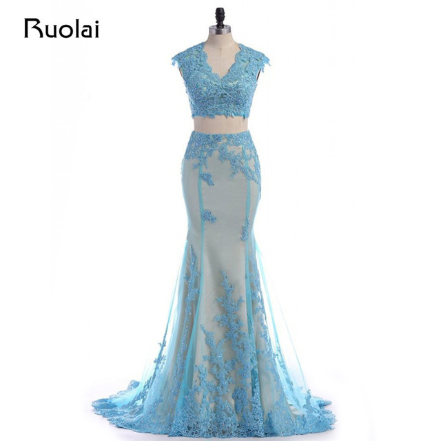 Real Photo Two Pieces Prom Dresses Light Blue Evening Dress Mermaid