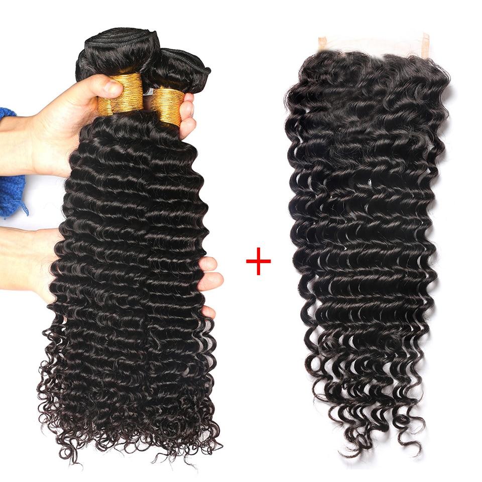 Deep Wave Bundles With Closure Brazilian Hair Weave Bundles Human Hair 3 Bundles With Closure Free Part Closure Remy Hair BOL