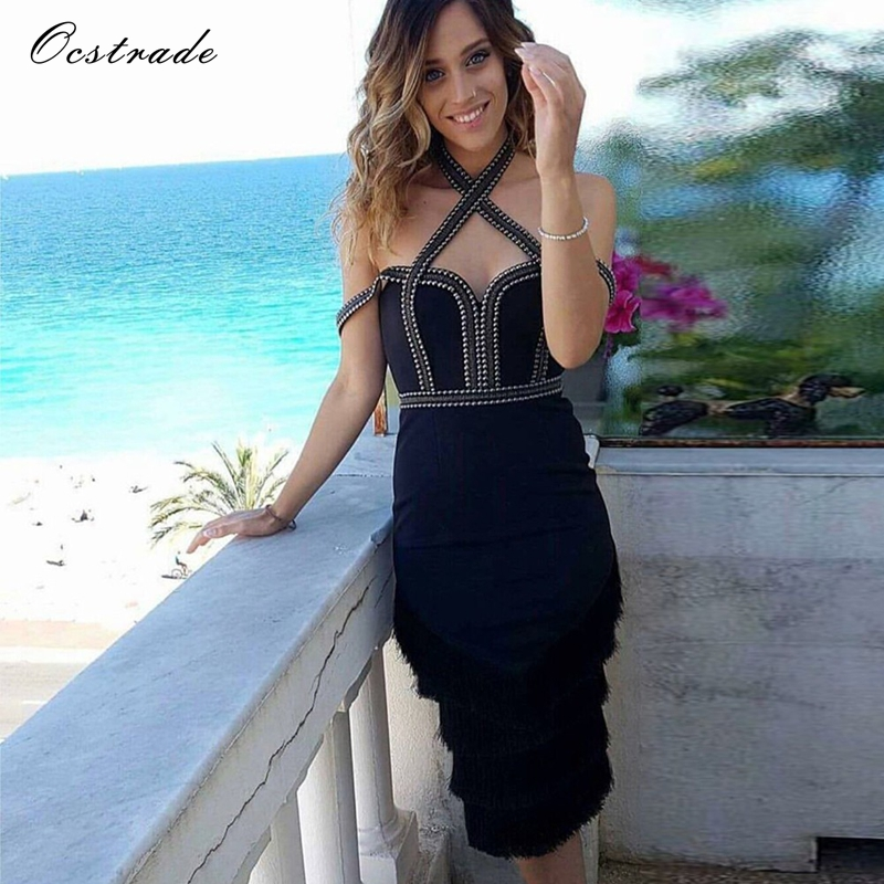 Ocstrade Newest 2018 Sexy Bodycon Dress Black Summer Studded and Tassel Women Party Dress High Quality