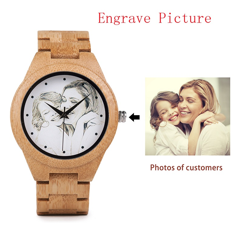 BOBO BIRD Lovers Custom Picture Bamboo Wooden Watches Men Ladies Quartz Wristwatch Engrave logo for Women as Gift in Wood box купить недорого в Москве