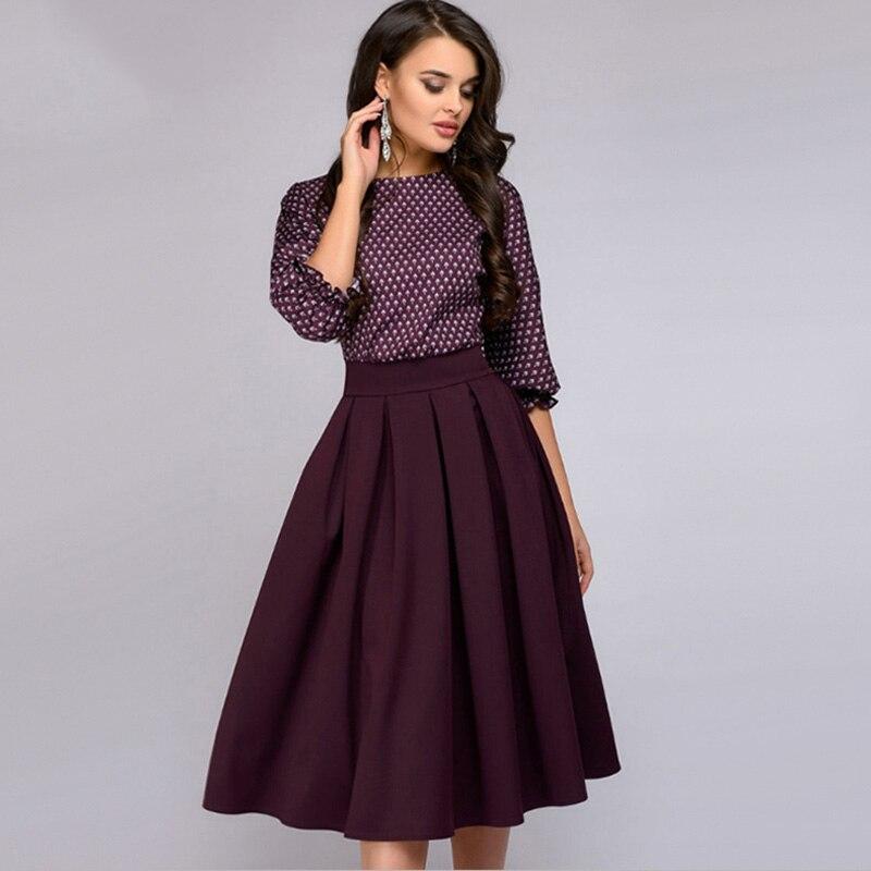 Vintage Druck Laterne Hülse Herbst Kleid 2018 Frauen Elegante Oansatz Halbe Hülsen A-Line Casual Kleid Mid-Kalb Party Kleider
