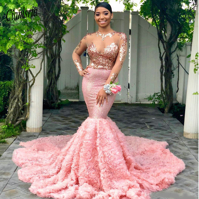 2019 Pink Long Sleeves Black Girls Prom Dress Mermaid Formal Pageant Holidays Wear Graduation Evening Party Gown Custom Made