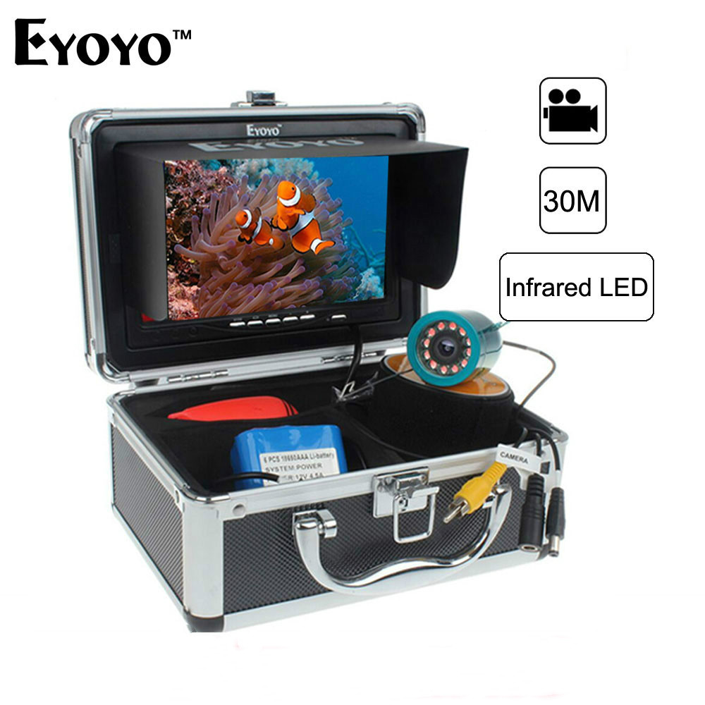 Eyoyo Trouveur De Poissons D'origine 1000TVL 7 Vidéo Sous-Marine Pêche Caméra Kit AntiSunshine Shielf Pare-Soleil Infrarouge IR LED Caméra