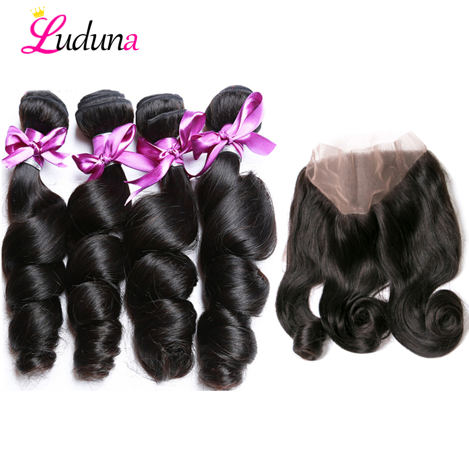 Luda Peruvian Hair 360 Lace Frontal With Bundle Loose Wave Human Hair Bundles With Frontal Natural Black Remy Hair Extension