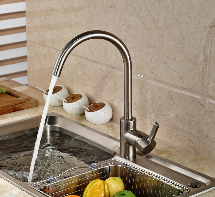 ФОТО Brushed Nickel Kitchen Faucet Round Sink Mixer Tap Swivel Spout Hot and Cold Mixer Tap