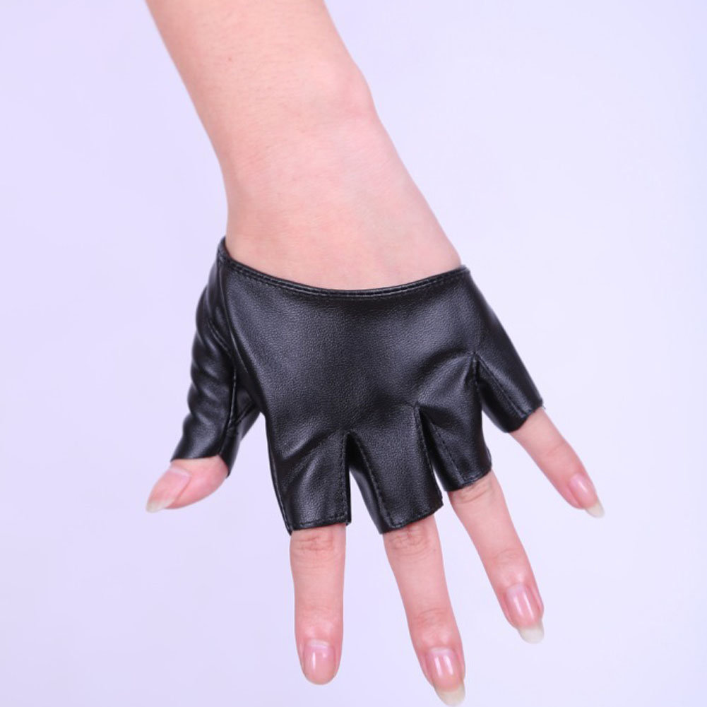PU Half Finger Lady Leather Ladys Fingerless Driving Show Jazz Gloves For Women Men Stage Pole Dancing Performance Gloves