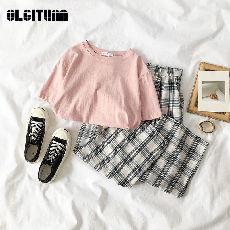 2019 New Fashion Korean Women Sets Casual Solid Short Sleeve T-shirt + Retro Plaid Wide Leg Pants Two-piece Suits For Summer