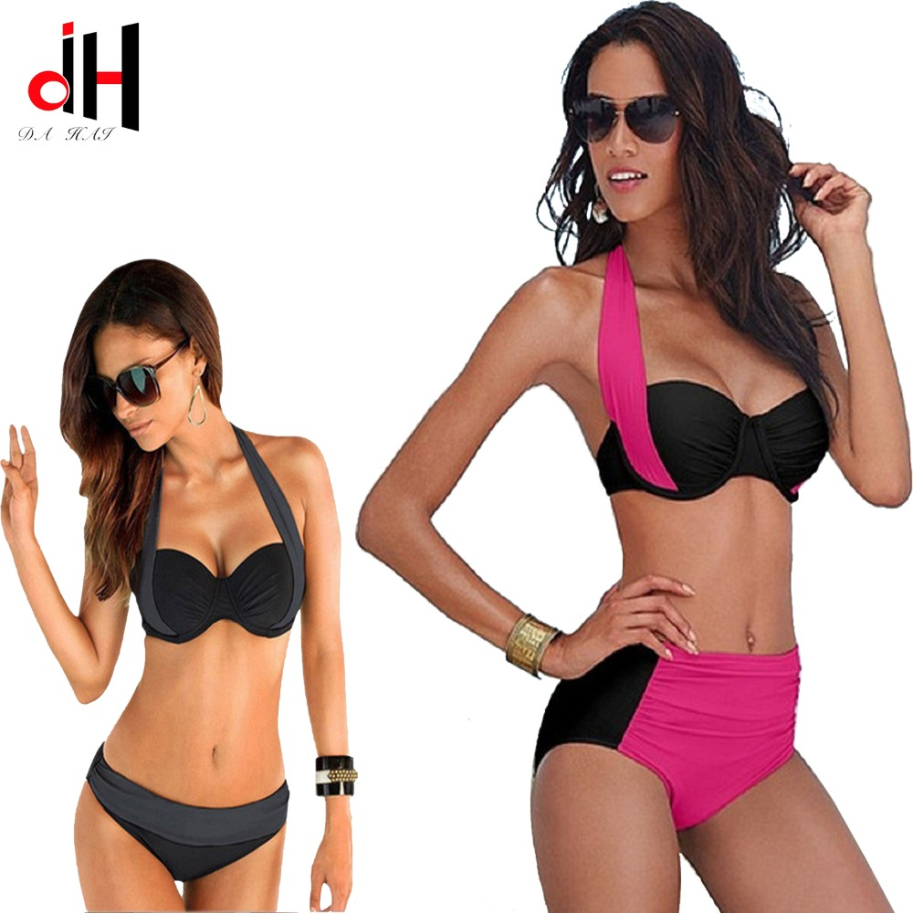 DA HAI 2017 New Sexy Bikinis Women Swimsuit High Waisted Bathing Suits Swim Halter Push Up Bikini Set Plus Size Swimwear 3XL 2017 newest sexy bikinis women swimsuit low waisted bathing fleshcolor suits swim halter top push up bikini set swimwear bj082