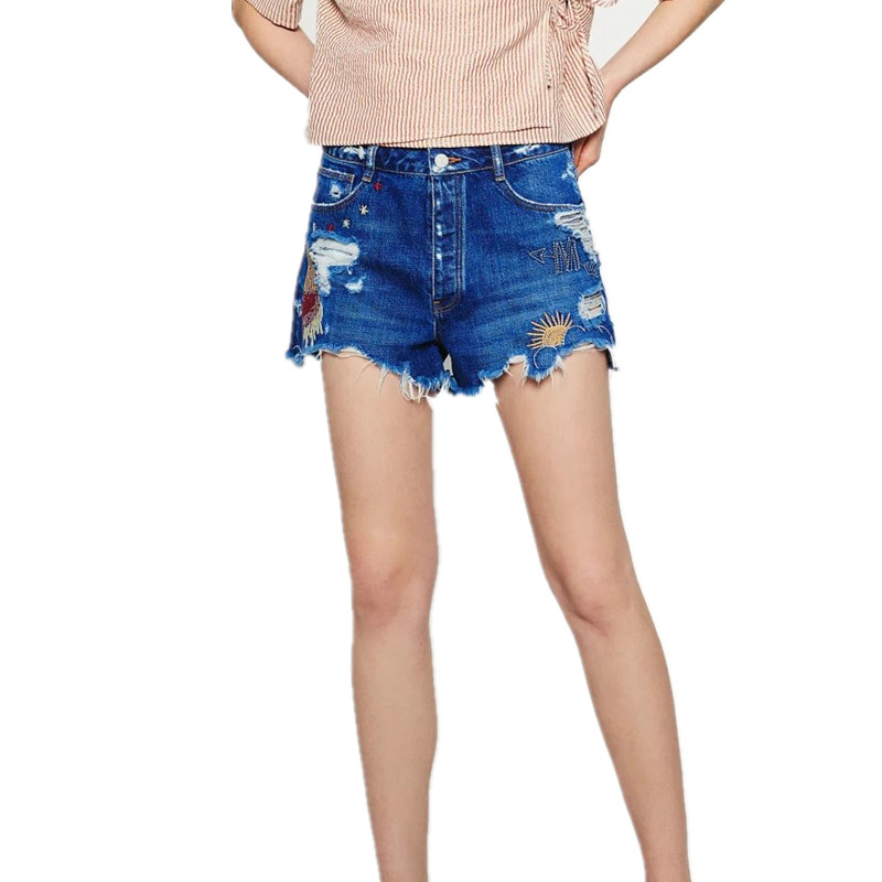 Spring Summer New Europe Embroidered Jeans Shorts Denim Micro Shorts spring