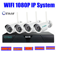 Wireless Home Security Ip Camera 2mp 1080p Hd Nvr Wifi Cctv System Kit 4ch IR Network
