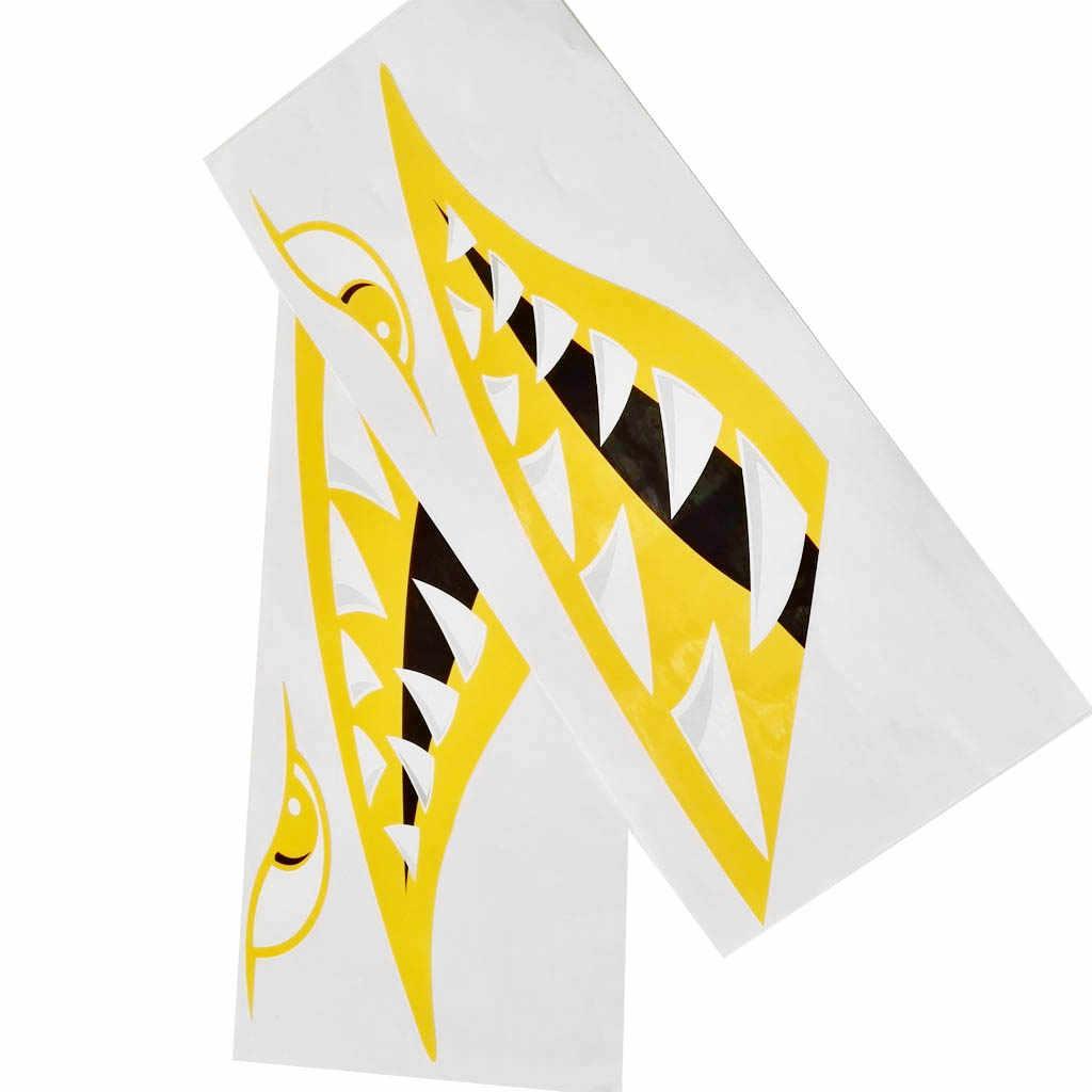 Porable 4 Stück Vinyl Großer Hai Zähne Mund Decals Kunst Aufkleber für Kajak Kanu Boot Angeln Motorrad Auto Lkw Aufkleber