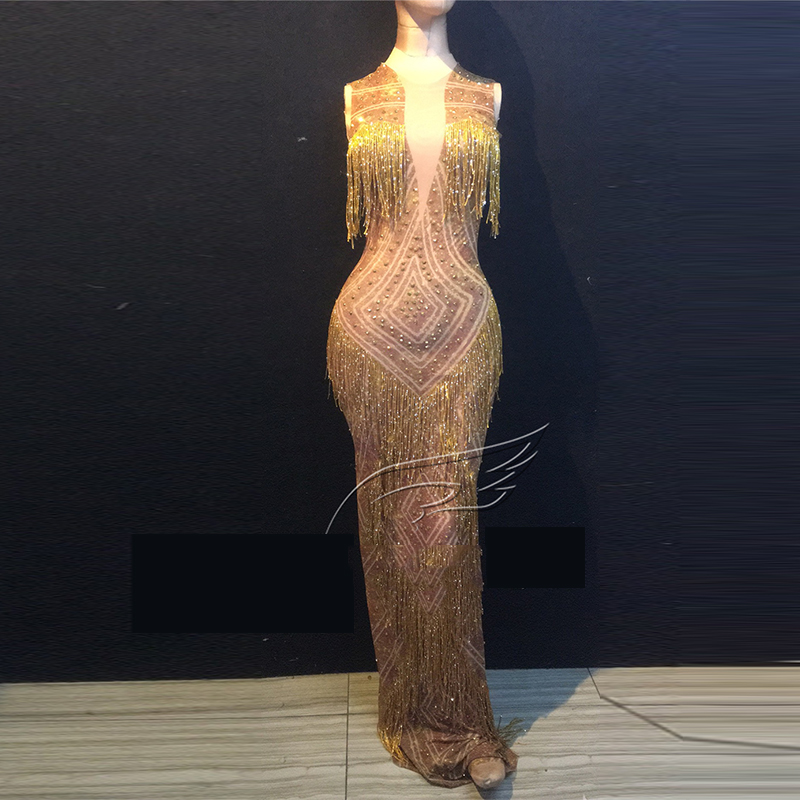 Gold Tassel Long Dress Party Wear Sexy Crystals Shining Costume Women's Performance Celebrate Dresses Evening Outfit DWY1348