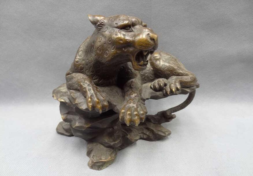 """SCY voge gem S5372 10 """"Zodíaco Chinês Bronze Animais Cabeça Do Tigre Feroz Deitado Hill Estátua Escultura D0318"""