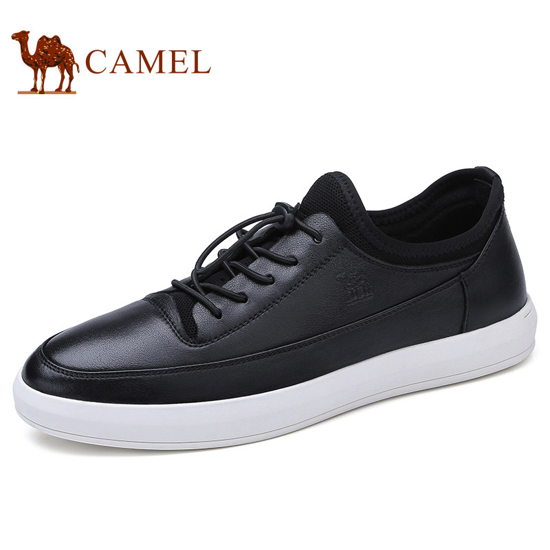 Camel 2018 Spring and Summer New Men's Black and White Fashion Lithe Antiskid Cushioning Soft Folding Leather Shoes A812168300 free shipping new spring and summer fashion men s denim jeans slim wear white pantyhose feet