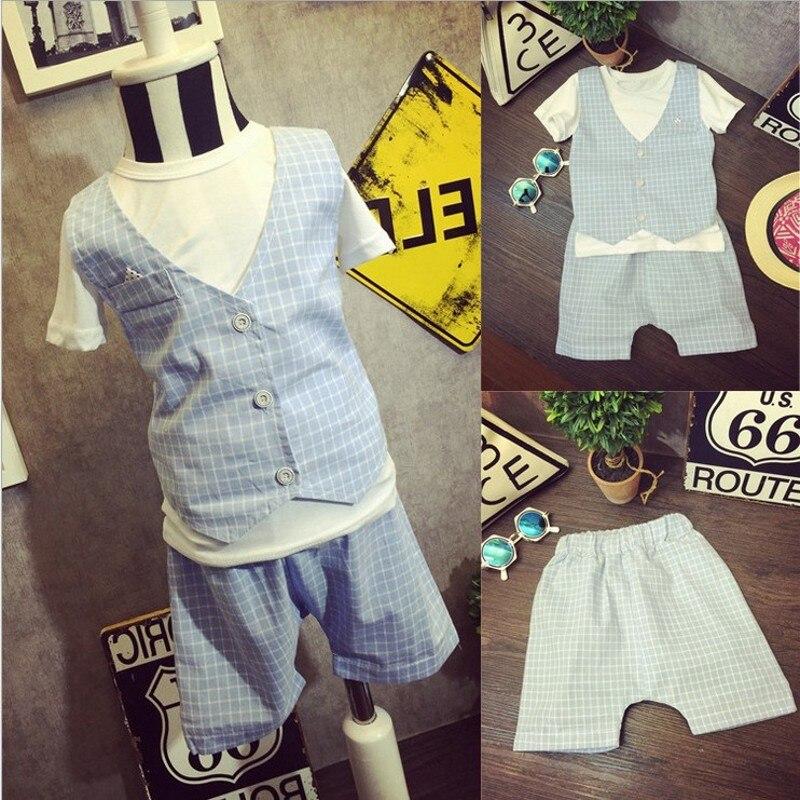 new boys summer sets plaid vest t shirts shorts toddler. Black Bedroom Furniture Sets. Home Design Ideas